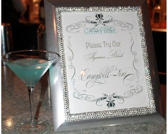 Wedding Signature Drink Personalized Bar Sign / Bar Sign / Wedding Gift / Bridal Shower Gift / Men's Gift / Table Number /