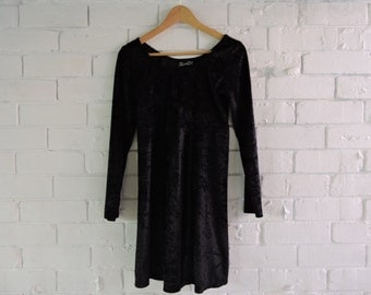 90s HOUND DOG Black Velvet Dress