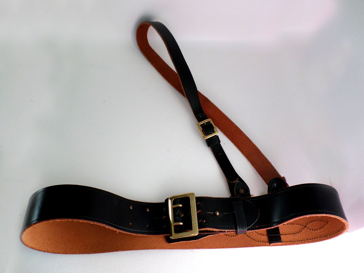 size 44 110 cm jaypee black leather sam browne duty belt with