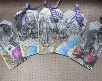 Through the Looking Glass vintage style gift tags x 5