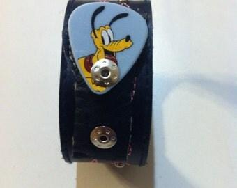 Guitar Pick Holder with Disney Pluto decorative pick design - sm/med adjustable band