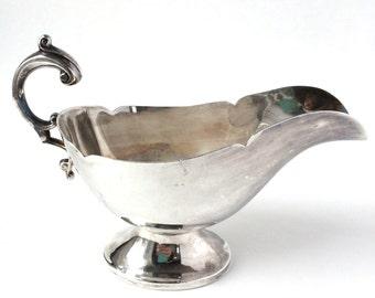 Silver Gravy Boat - Antique Silver Pitcher - Milk Pitcher - Silver Creamer - Silver Serving Piece - Wedding Vase - Wedding Centerpiece