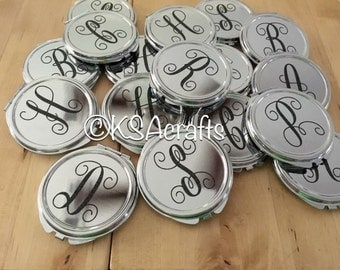 Compact Mirror, Silver Compact Mirror, Personalized Compact Mirror