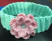 "Crochet Flower Headband/""Minty""/Light Teal/Pink flower head band/Photo Prop/Girls gift/Ear warmer/Green/Winter hair accessory/FREE SHIPPING"