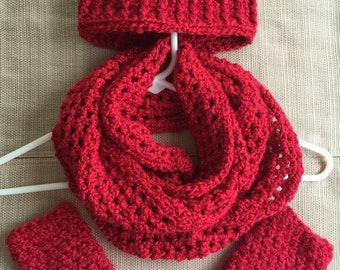 Crochet BulkyInfinity Scarf, Hat & Fingerless Gloves Combo Set, Valentine's gift, Gift for Her, Women's accessories, Red, FREE SHIPPING