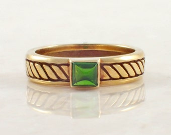18K Yellow Gold Tsavorite Garnet Band