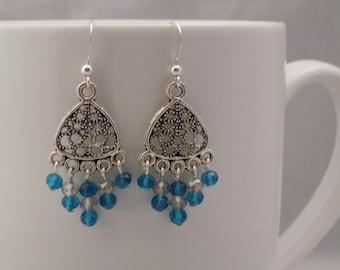 Blue and Gray Chandelier Earrings