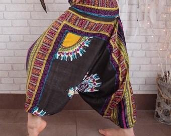 Harem pants,music festival clothing,hippie pants, bohemian gypsy pants, African print harems