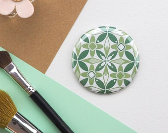 Compact Mirror with Geometric Floral print // Small Vanity Mirror // Round Mirror for Bag or Make up bag // Gifts for Her