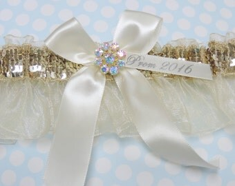 Ivory and gold prom garter,  prom garters