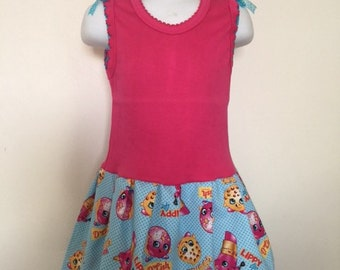 Shopkins dress with matching bow  sizes 12mo-6yrs old
