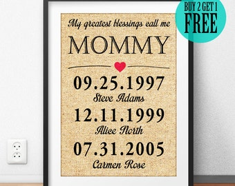 My Greatest Blessings Call Me Mommy, Mother's Day Gift, Mother Gift, Family Sign, Personalized, Burlap Print, Home Decor, Wall Art, CM44