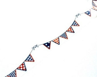 A masking tape 10 m / washi tape (adhesive tape) flags pennants blue white red 1.5 cm x 10 m