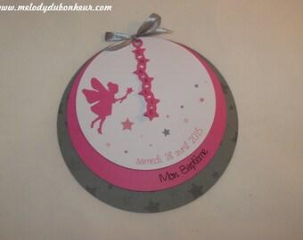 To share round baptism birth fairy and stars fuchsia pink and grey