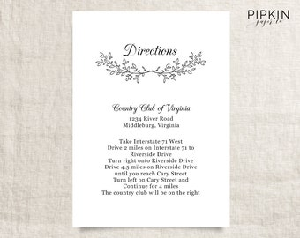 Wedding directions template digital download for word printable wedding directions digital download for word floral wedding invitation fully customizable stopboris Choice Image