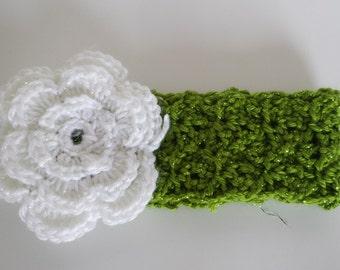 Crochet Ear Warmer, Crochet Baby Headband Spring Sparkle