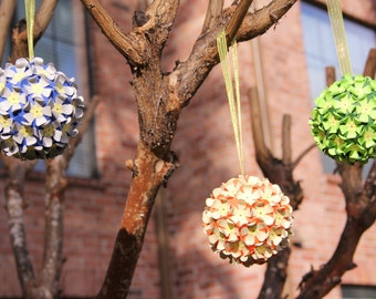 Paper Flower Balls - Pomander Balls - Set of 3 - Weddings or Party Decor