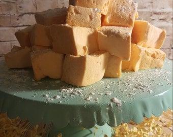 A Full Tray of Gourmet Peach Flavor Marshmallow Dessert Candy Cubes