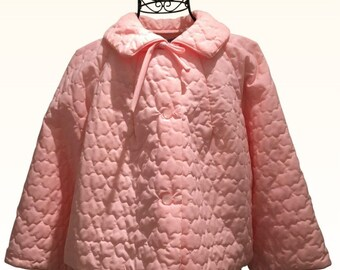 Vintage Baby Pink Quilted Bed Jacket 1950s Conrad Montreal