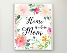 Gift For Mom, Mother's Day Print, Home Is Where Mom Is, Mother Quote Print, Mother's Day Printable, Mom Quote, Mother's Day Gift, Mom Print