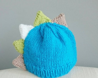 Hand Knitted Baby Boy Dinosaur Hat - Age 0 - 3 Months