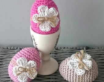 Set of 3 Crochet Easter Egg Decorations - Spring Decorations