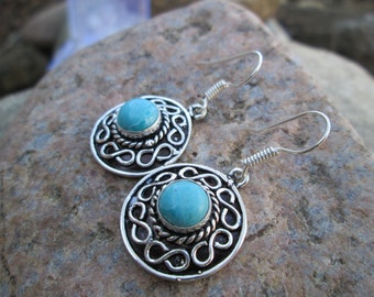 Earrings,Handmade,Vintage,materials:silver,copper, oceanic Larimar,0.75x0.75inch