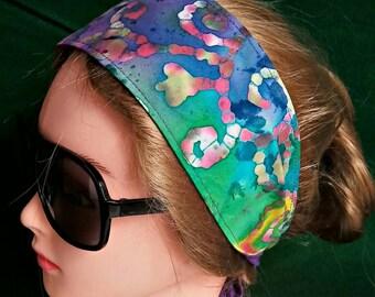 Headband hair wraptie bandana in beautiful batik fabric