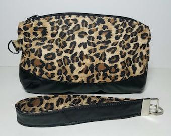 Lightweight Wristlet/Make Up Bag/ Leopard Theme/Small Bag/ Beach Bag/Accessories Bag