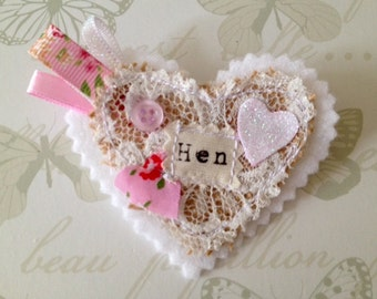 Hen Party Badge - Hen Party Favor - Bride to be - Shabby Chic Hen Party Favour - Vintage Hen Party - Hens night