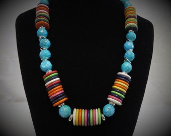 Turquoise African multicolor disc howlite beaded necklace in gold.