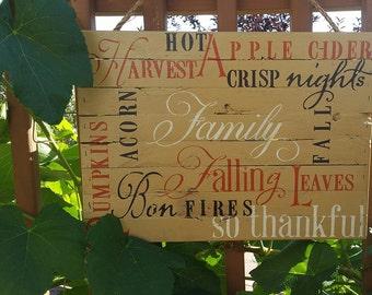 Fall Harvest Sign Reclaimed Barn Wood