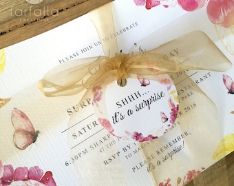 Pink Butterfly Floral Invitations w Tags & gold sheer ribbon