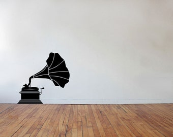 Phonograph Decal - Phonograph, Victrola, Record Player, Wall Decal, Vintage Decal