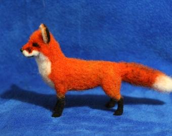A needle felted fox