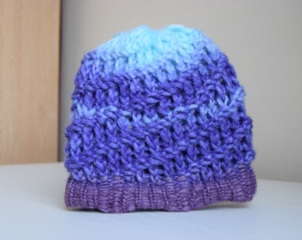 Children/Toddler Hat purple and blue, child knit hat, knitted children hat, kid winter hat, winter beanie, knit hat, girl knit hat