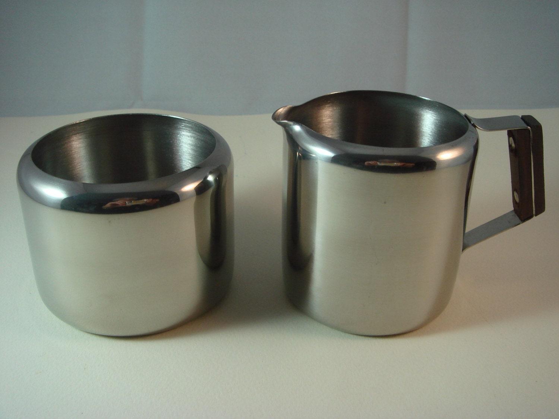 stainless steel milk jug and sugar bowl 18 8 unused vintage. Black Bedroom Furniture Sets. Home Design Ideas