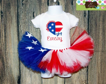 Fourth of July Boutique Tutu Outfit Independence day 4th Red White Blue  All American Girl Skirt Boutique Flag Heart
