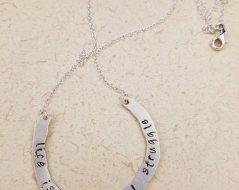 """Sterling silver stamped pendant """"Life is a beautiful struggle"""" on 18"""" sterling silver chain"""