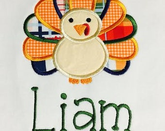Personalized Fall Thanksgiving Turkey Embroidered and Appliqué Shirt or Bodysuit
