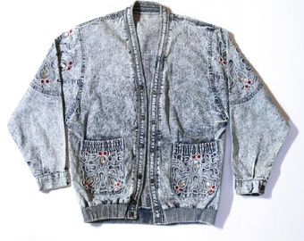 Jacket with Stones - 80s denim jacket - 80s jean jacket - Acid wash jacket - Madonna jacket - Denim Jacket - Vintage denim jacket - Denim