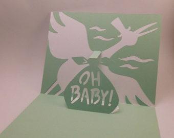 Stork pop up, baby card