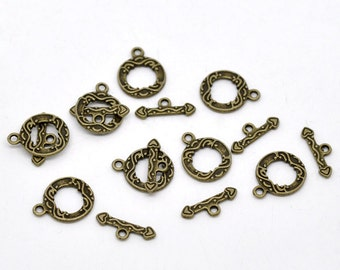 10 Sets Antique Bronze Toggle Clasps Findings 17x13mm 17x6mm (B7)