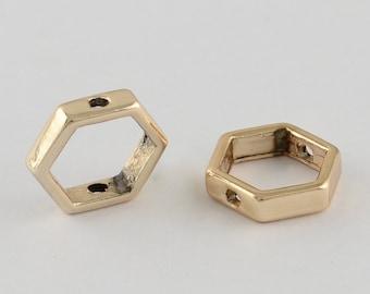 25 Gold Tone Hexagon Bead Frames 11x13x3mm (B55)