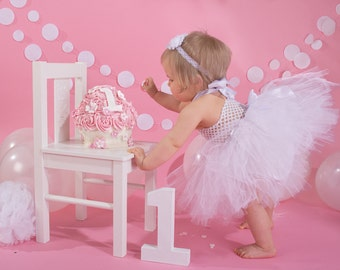 Cake Smash TuTu Dress 1/2 1st 2nd 3rd half Birthday Outfit Photo Shoot Prop 0-3 Years BABY ~ Pink or ANY COLOUR
