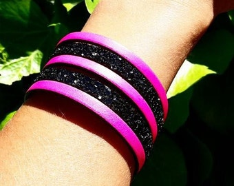 Pink and black glitter leather Cuff Bracelet