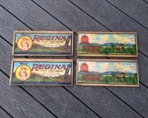 Vintage Grape Box Label 4 Labels on Wood Box Crate Ends Regina Latimer La Campana Cucamonga California Grapes Salvage Wood