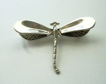 SILVER DRAGONFLY Brooch Pin - Vintage Dragonfly