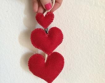 Valentine's 3 piece red heart catnip toys set