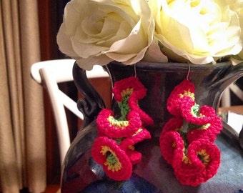 Bright Coral Earrings Hyperbolic